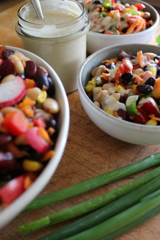 dreierlei Bohnensalat mit ölfreiem Dressing